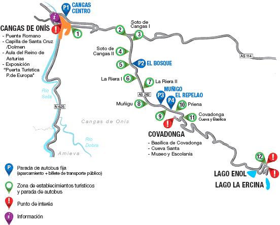 -Mapa itinerario hacia Covadonga-