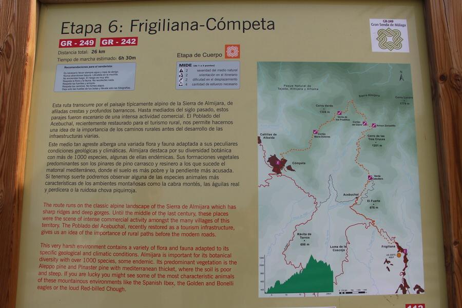 -Ruta senderismo en la entrada a Frigiliana-