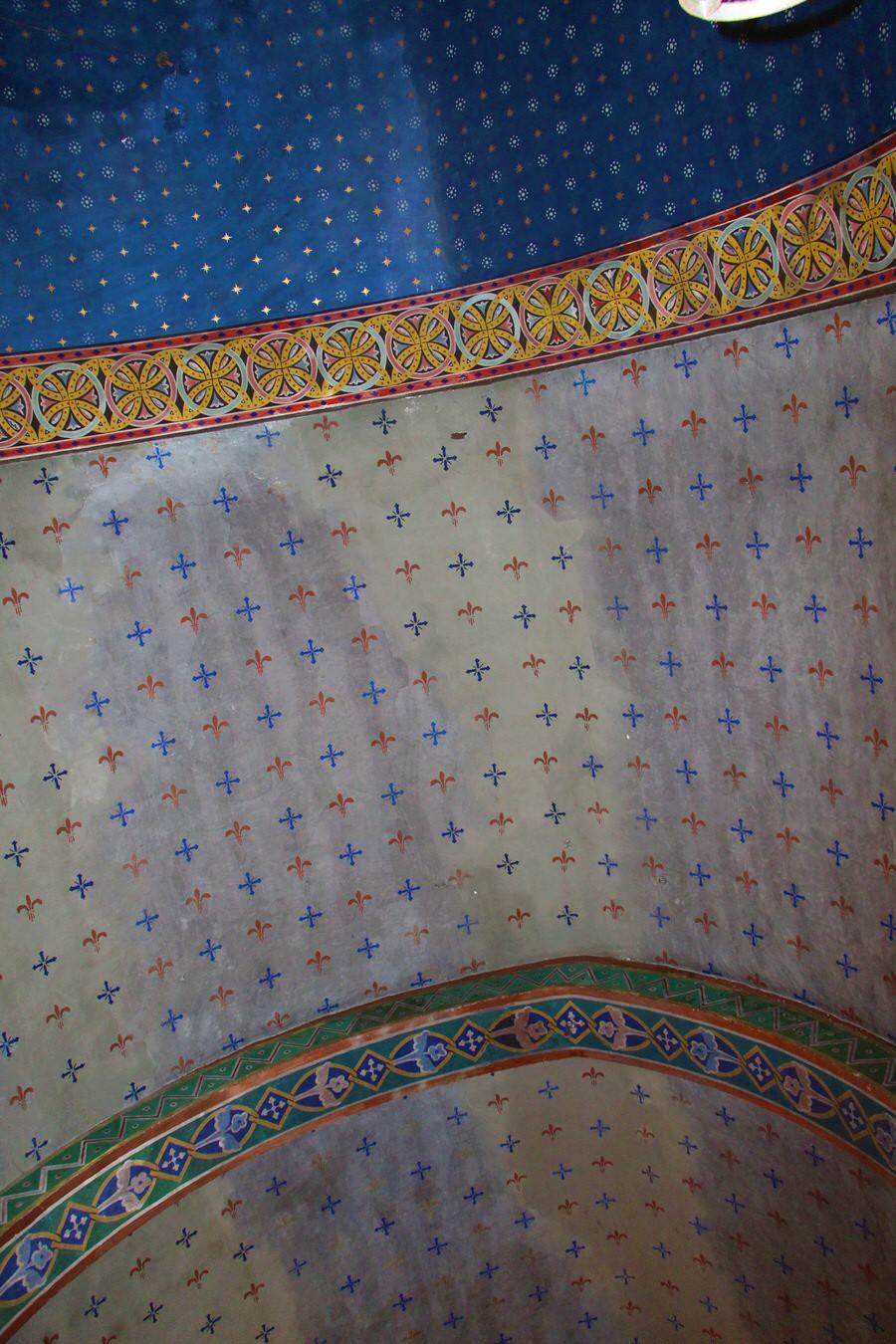 -Detalle pintura del techo.Iglesia San Cristobal, Beget-