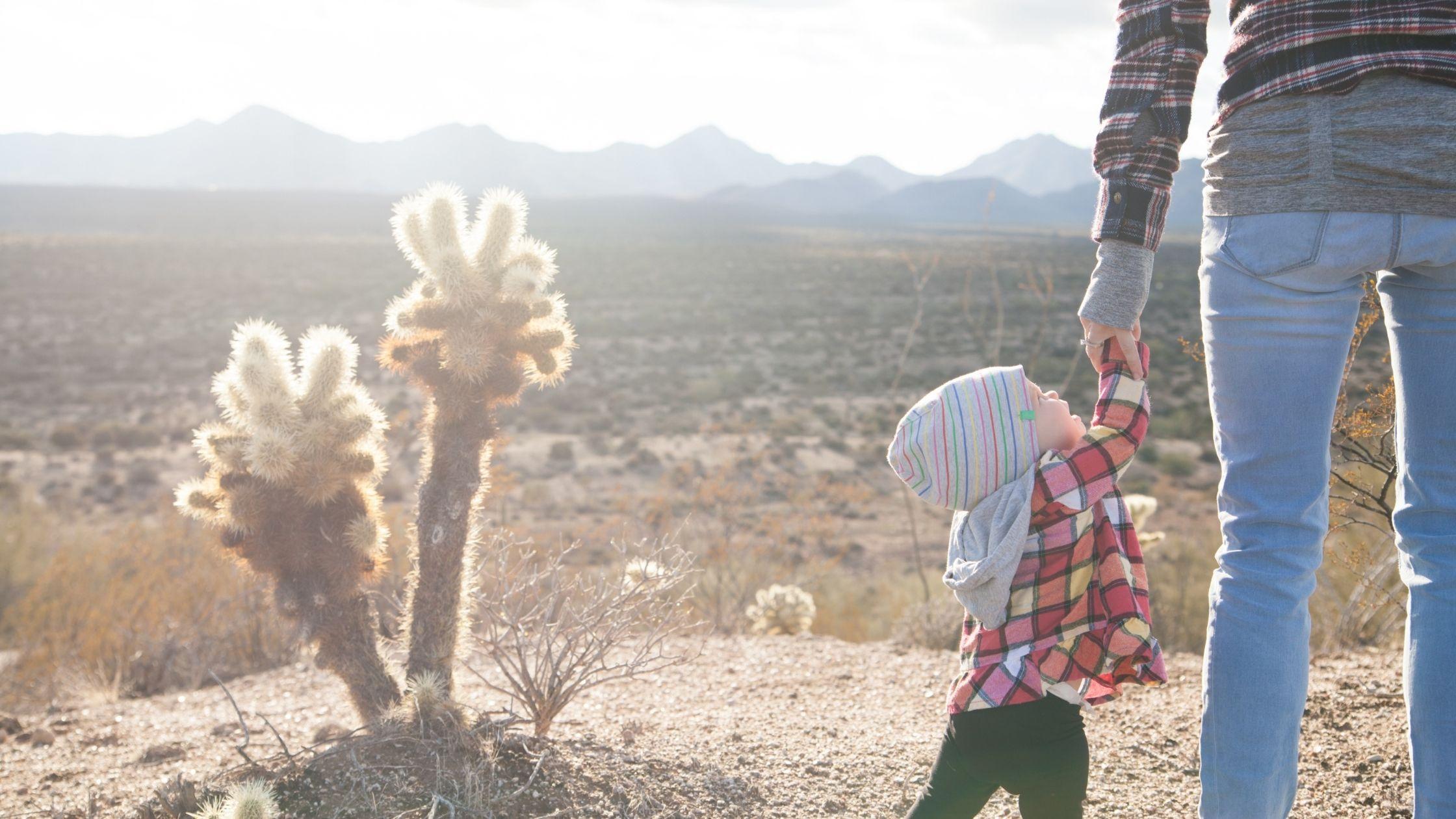 niño-de-la-mano-con-su-papá-en-un-paisaje